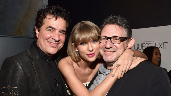 From left: Big Machine Label Group founder Scott Borchetta, Taylor Swift and Universal Music Group chairman and CEO Lucian Grainge, photographed in 2016 in Los Angeles.