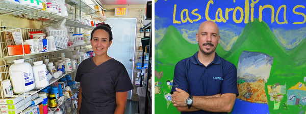 Noelia Rivera (left), a 27-year-old nurse, provides medical help in seven rural communities where many elderly people live. Pablo Méndez (right), an associate professor of environmental health at the University of Puerto Rico, gives guidance for the Center of Mutual Support in Las Carolinas.