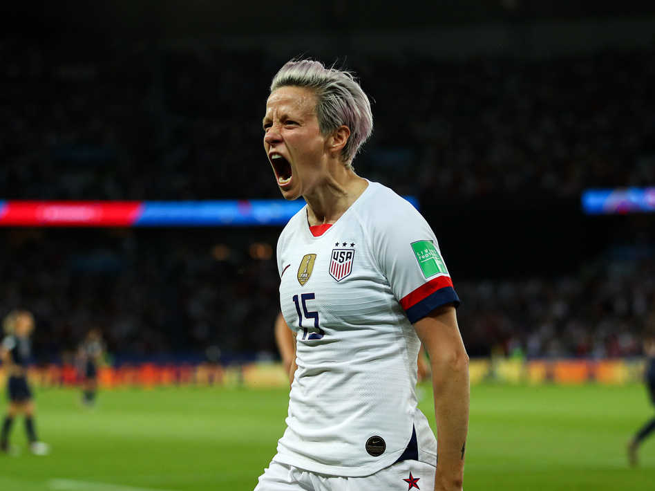 U.S. forward Megan Rapinoe celebrates after scoring her team's second goal during Friday's quarterfinal match against France. The Americans now face an England squad that brings confidence and defensive power. (Richard Heathcote/Getty Images)