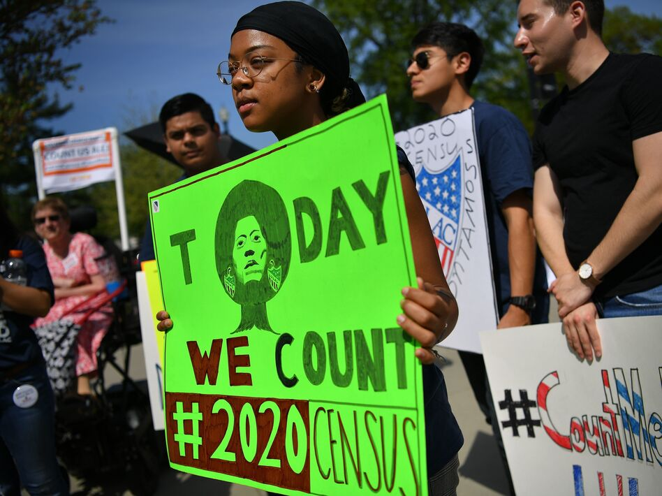 Demonstrators against a proposal to add a citizenship question to the 2020 census protest outside the U.S. Supreme Court in Washington, D.C., in April. (Mandel Ngan/AFP/Getty Images)