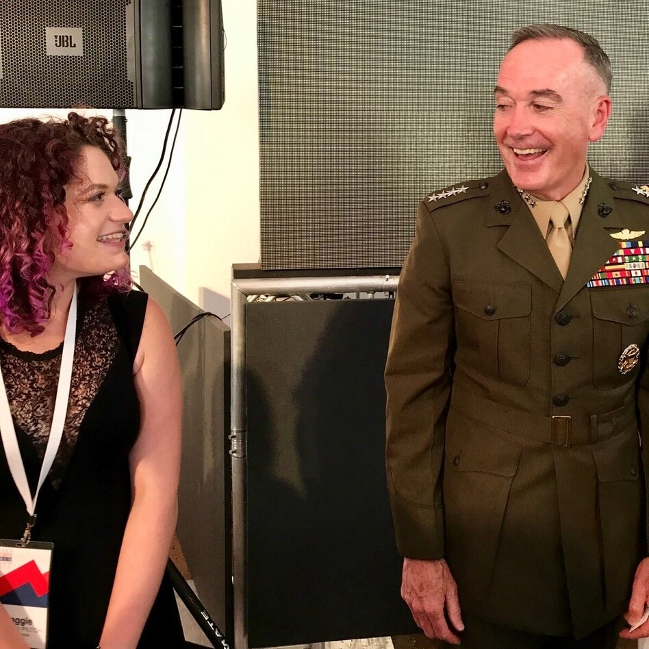 Maggie Feldman-Piltch, left, founder of #NatSecGirlSquad, and Marine Gen. Joseph Dunford, chairman of the Joint Chiefs of Staff, in 2017 at the Aspen Security Forum, in Aspen, Colo. (Photo courtesy Maggie Feldman-Piltch)