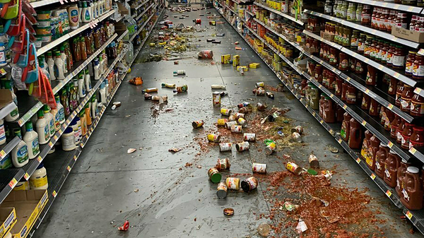 Food that fell from the shelves at a Walmart following an earthquake in Yucca Valley, Calif., on Friday.