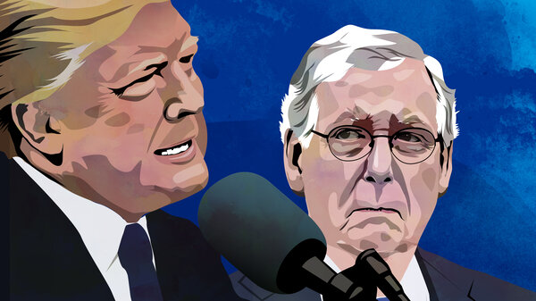 Senate Majority Leader Mitch McConnell listens as President Trump speaks to reporters following a meeting at the White House in October 2017.