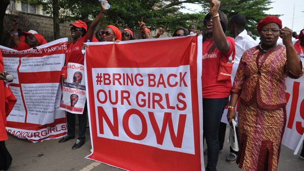 People attend a demonstration calling on the government to rescue the kidnapped girls of the government secondary school in Chibok, in Abuja, Nigeria on Oct. 14, 2014.