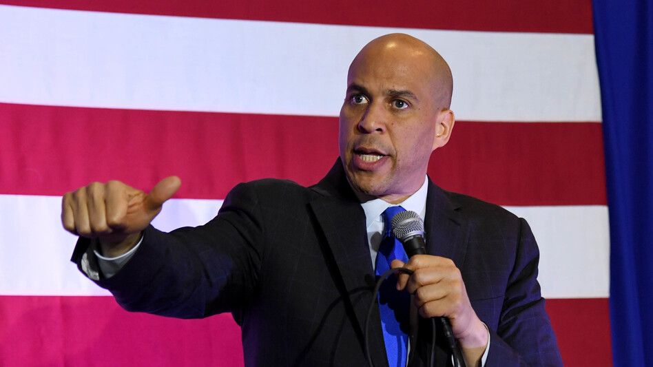 Sen. Cory Booker, D-N.J., speaks at an event in February in North Las Vegas, Nev., while campaigning for the 2020 Democratic presidential nomination. (Ethan Miller/Getty Images)