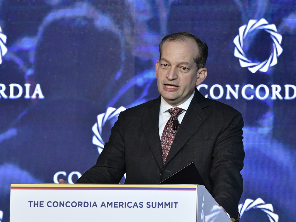 Secretary of Labor Alexander Acosta speaks at an event in Bogotá, Colombia, in May. Acosta is coming under criticism for his actions in a sex trafficking case involving Jeffrey Epstein when Acosta was a U.S. attorney in Florida. (Gabriel Aponte/Getty Images for Concordia Summi)