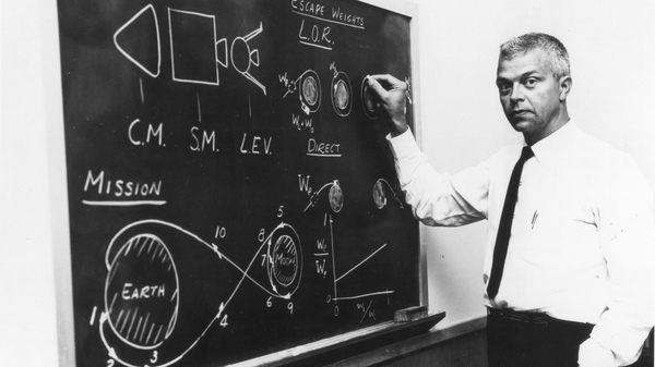 American aerospace engineer John Houbolt as he stands at a chalkboard in July 1962 showing his lunar orbit rendezvous plan for landing astronauts on the moon.