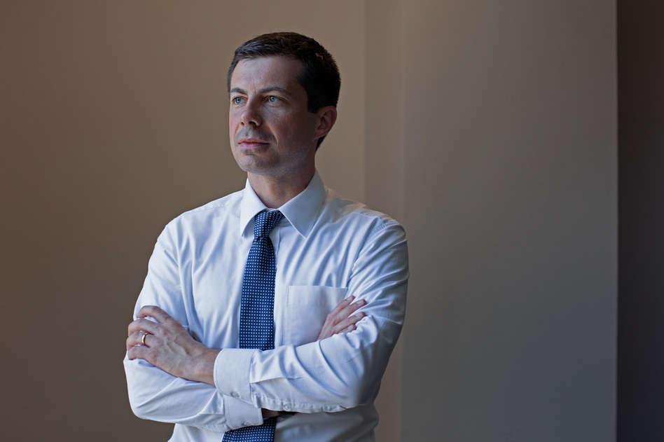 Democratic presidential candidate Pete Buttigieg stands for a portrait in Washington D.C. (Shuran Huang/NPR)