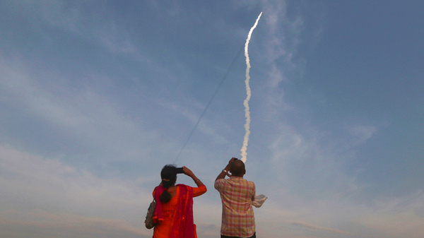 An Indian heavy rocket lifts off from Satish Dhawan Space Centre in Sriharikota. The same site will launch India