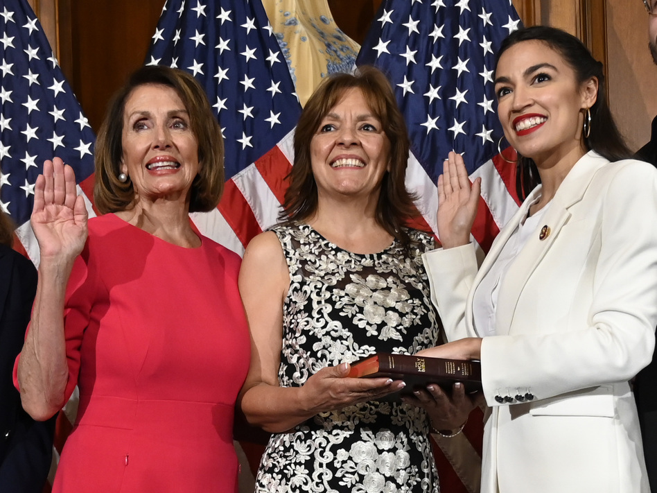 House Speaker Nancy Pelosi of California (left) is trying to move on from a public clash with Rep. Alexandria Ocasio-Cortez, D-N.Y., (right) and other progressives. (Susan Walsh/AP)