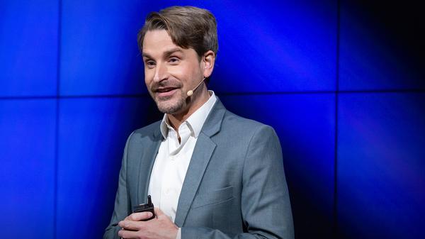 Finn Myrstad on the TED stage