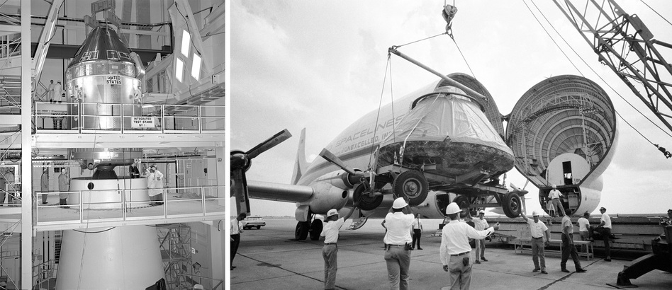 (Left) The Apollo 11 command and service modules are mated to the Saturn V lunar module adapter. (Right) The Apollo 11 spacecraft command module is loaded aboard a Super Guppy aircraft at Ellington Air Force Base for shipment to North American Rockwell Corp. (NASA)