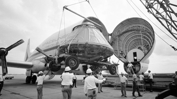 (Left) The Apollo 11 command and service modules are mated to the Saturn V lunar module adapter. (Right) The Apollo 11 spacecraft command module is loaded aboard a Super Guppy aircraft at Ellington Air Force Base for shipment to North American Rockwell Corp.