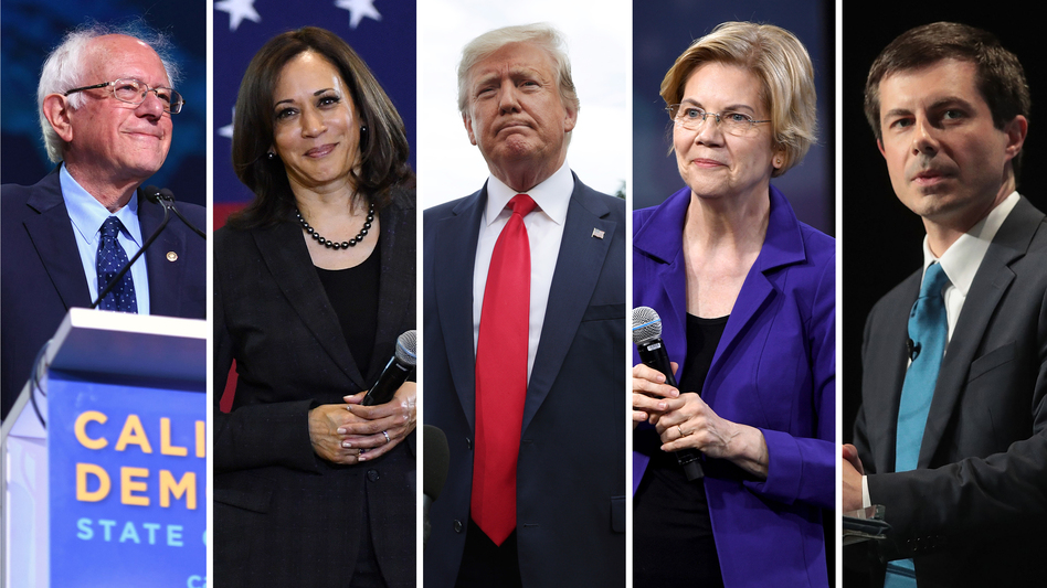 Sen. Bernie Sanders (left), Sen. Kamala Harris, President Trump, Sen. Elizabeth Warren and South Bend, Ind. Mayor Pete Buttigieg are the top five fund raisers for the 2020 presidential campaign, according to data from July 15. (Josh Edelson/AFP, Ethan Miller (2), Alex Wong, Scott Olson/Getty Images)