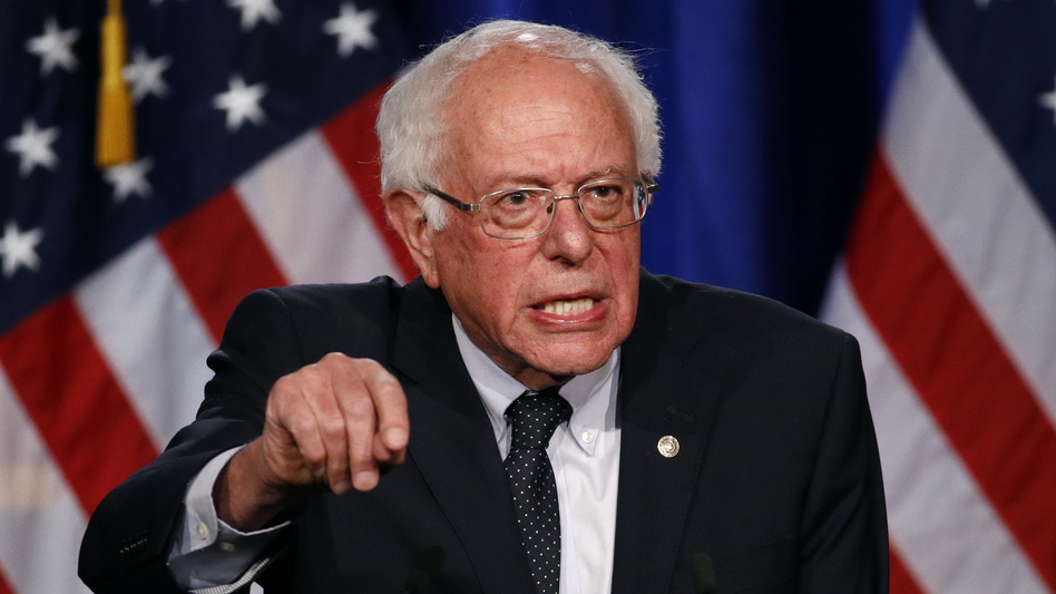 """Democratic presidential candidate Sen. Bernie Sanders of Vermont speaks about his """"Medicare for All"""" proposal on Wednesday at George Washington University. (Patrick Semansky/AP)"""