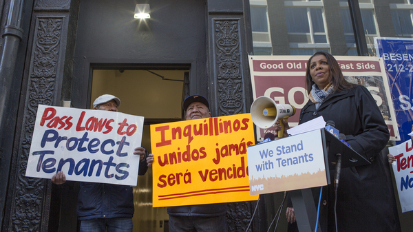 New York Attorney General Letitia James joins a press conference to support rent controlled tenants who have been threatened with eviction because their landlord has filed for bankruptcy in March.