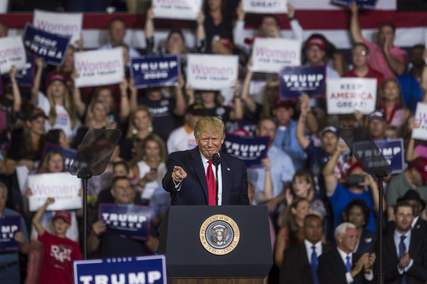 President Trump gestures to the crowd during a Keep America Great rally in Greenville, N.C. on Wednesday.