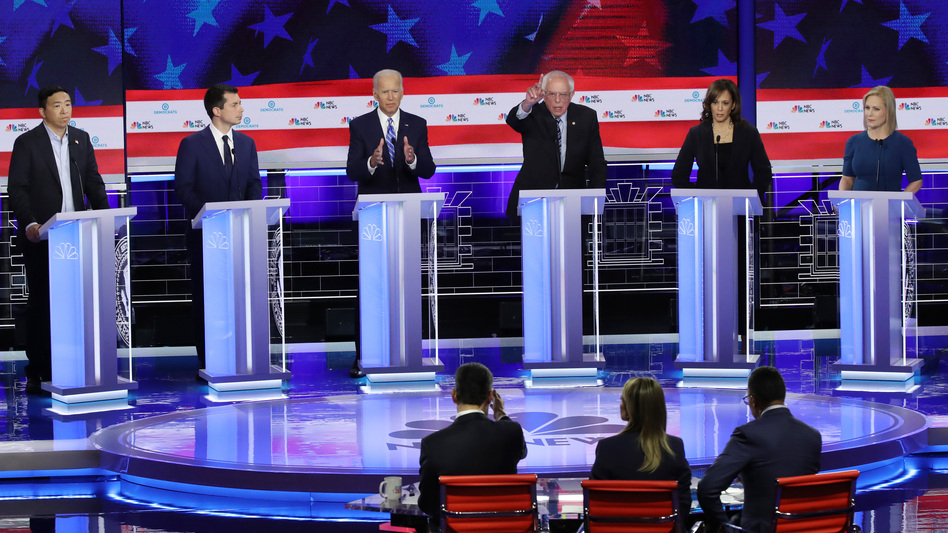 From left, Andrew Yang, Pete Buttigieg, Joe Biden, Bernie Sanders, Kamala Harris and Kirsten Gillibrand faced off in the June 27 debate. All will be back for next week's rounds. (Drew Angerer/Getty Images)