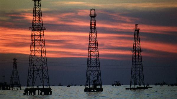Oil production platforms on Venezuela