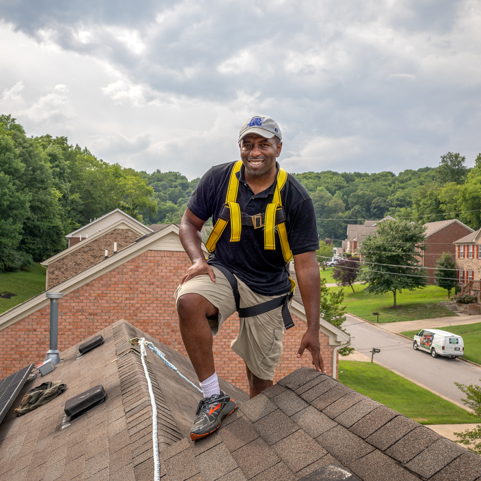 Jason Carney designed and installed the solar array on the roof of his house in Nashville, Tenn. He wants to introduce more people in minority communities to the advantages of solar energy. (Tamara Reynolds for NPR)