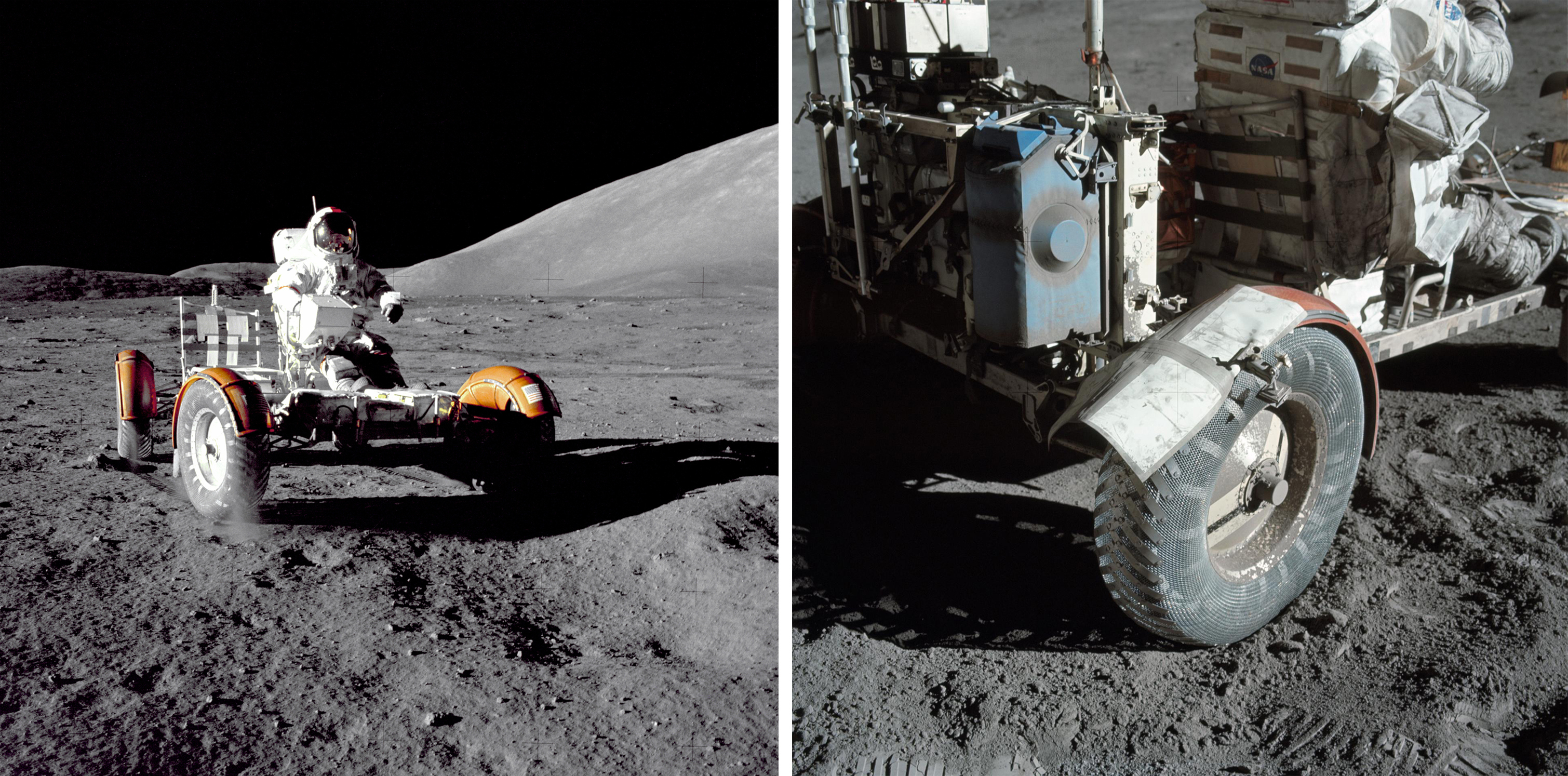 Apollo 17 mission commander Eugene A. Cernan makes a short checkout of the Lunar Roving Vehicle (shown in close-up at right) during the early part of the Apollo 17 extravehicular activity at the Taurus-Littrow landing site in 1972.