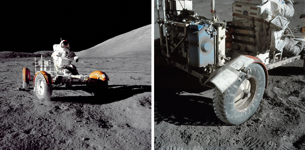 Apollo 17 mission commander Eugene A. Cernan makes a short checkout of the Lunar Roving Vehicle (shown in close-up at right) during the early part of the first Apollo 17 extravehicular activity at the Taurus-Littrow landing site in 1972.
