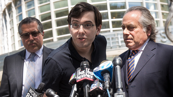 Former pharmaceutical executive Martin Shkreli must remain in prison for securities fraud, a federal appeals court ruled Thursday. Shkreli is seen here in 2017, speaking after the jury reached a verdict in his case in a federal court in Brooklyn, N.Y.