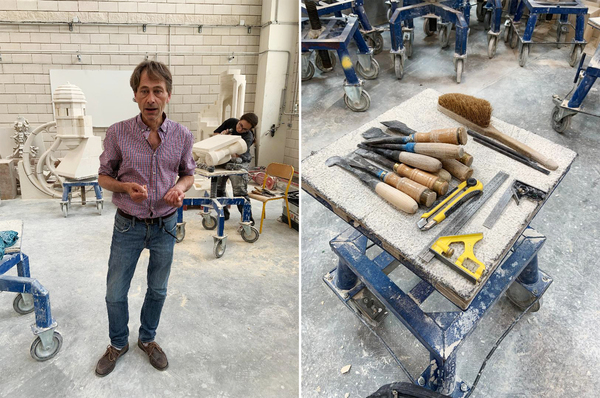 Left: Luc Leblond, an instructor and a stonecarver who has worked on Notre Dame in the past. He says the cathedral must be restored to its original structure. Right: Stone carving tools.