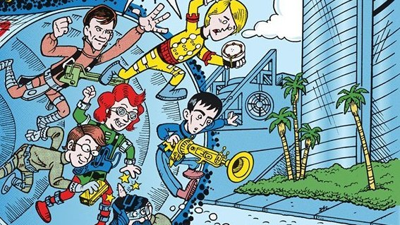 The original San Diego Comic-Con committee, as drawn by Scott Shaw! and inspired by Jack Kirby.