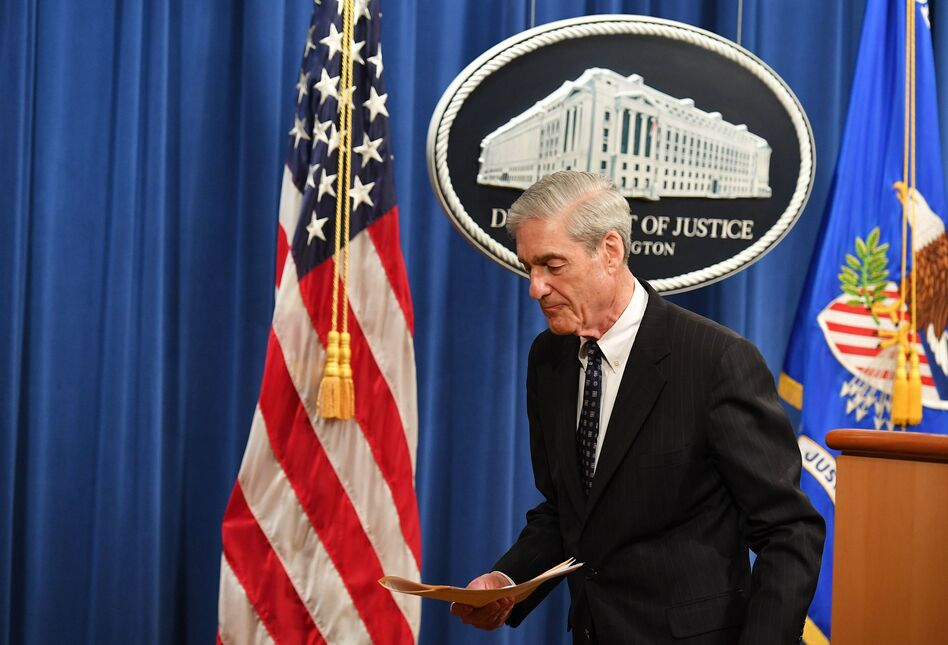 Robert Mueller leaves in May after speaking about the special counsel investigation into Russian interference in the 2016 U.S. election. (Mandel Ngan/AFP/Getty Images)
