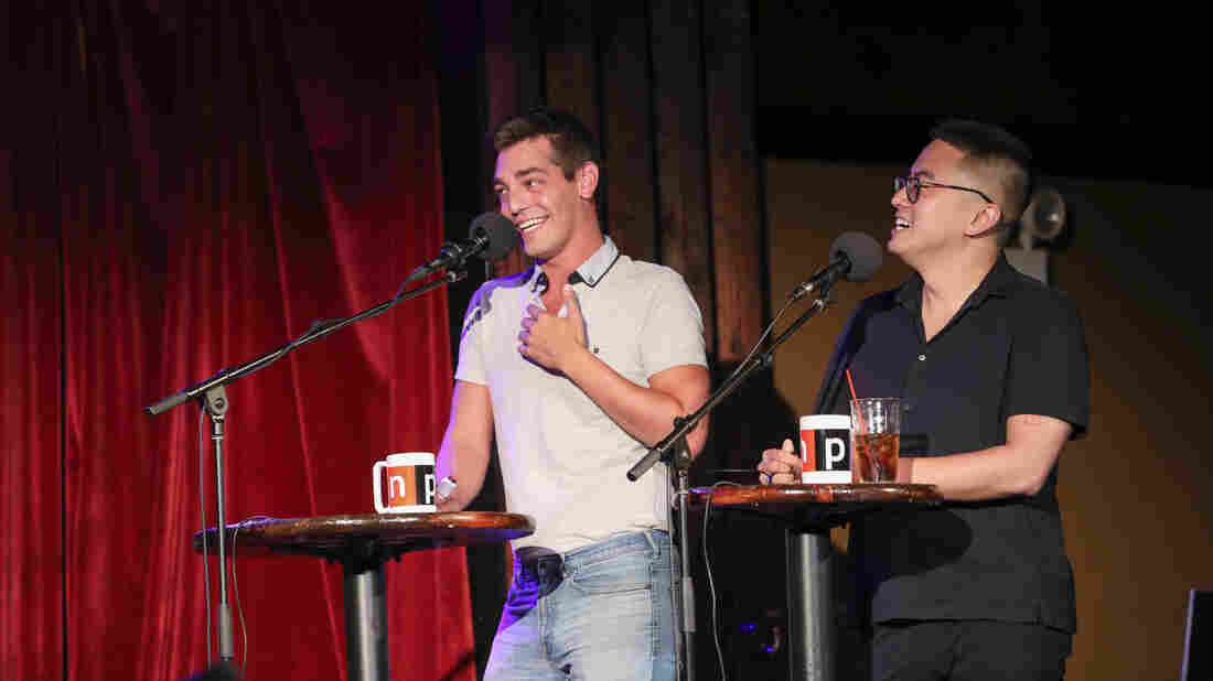Las Culturistas hosts Matt Rogers and Bowen Yang appear on Ask Me Another at the Bell House in Brooklyn, New York.