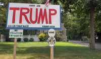 A pro-Trump sign next to B'nai Israel Reform Temple on Long Island, where Rep. Lee Zeldin, R-N.Y., is a member.