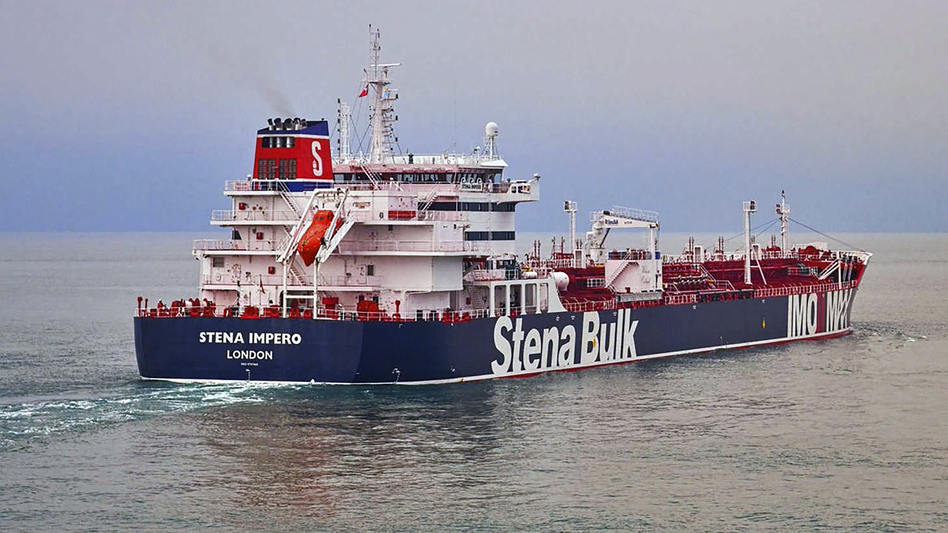 Iranian officials are defending the seizure of British-flagged tanker Stena Impero in the Strait of Hormuz near Iran's coast on Friday. (Stena Bulk/AP)