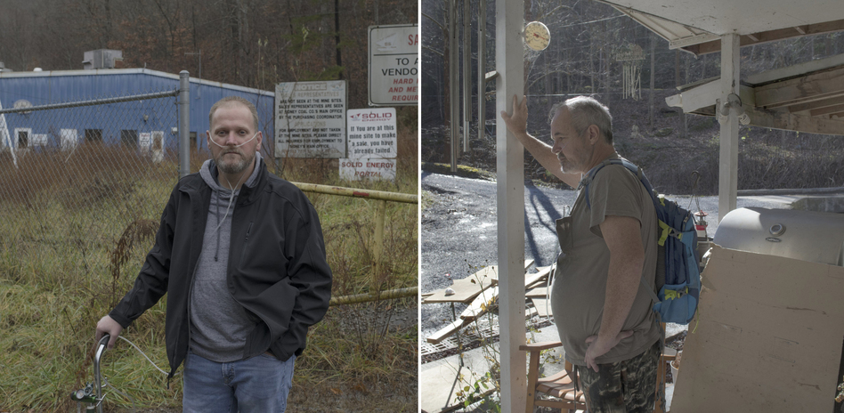 On Tuesday, coal miners Danny Smith (left) and Greg Kelly are expected on Capitol Hill, where they'll ask lawmakers to fully restore a tax that pays for medical care for miners diagnosed with black lung. Both have the worst stage of the disease after years of mining. (Rich-Joseph Facun for NPR)