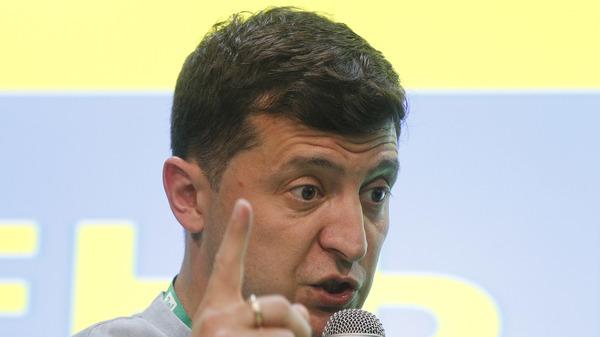 Ukrainian President Volodymyr Zelensky speaks at his the