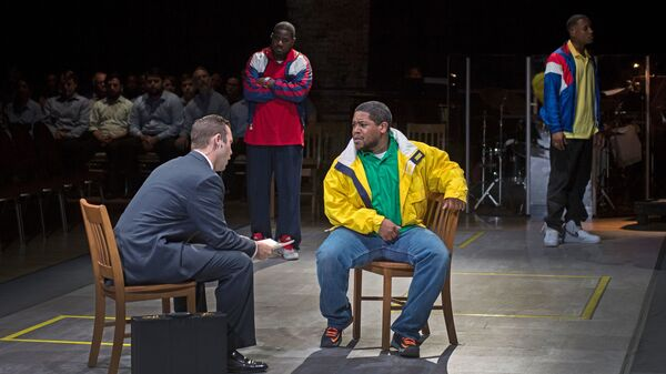 (Left to right) Joseph Lattanzi, Sankara Harouna, Terrence Chin-Loy and Miles Wilson-Toliverstar star in Blind Injustice, presented through the Cincinnati Opera.