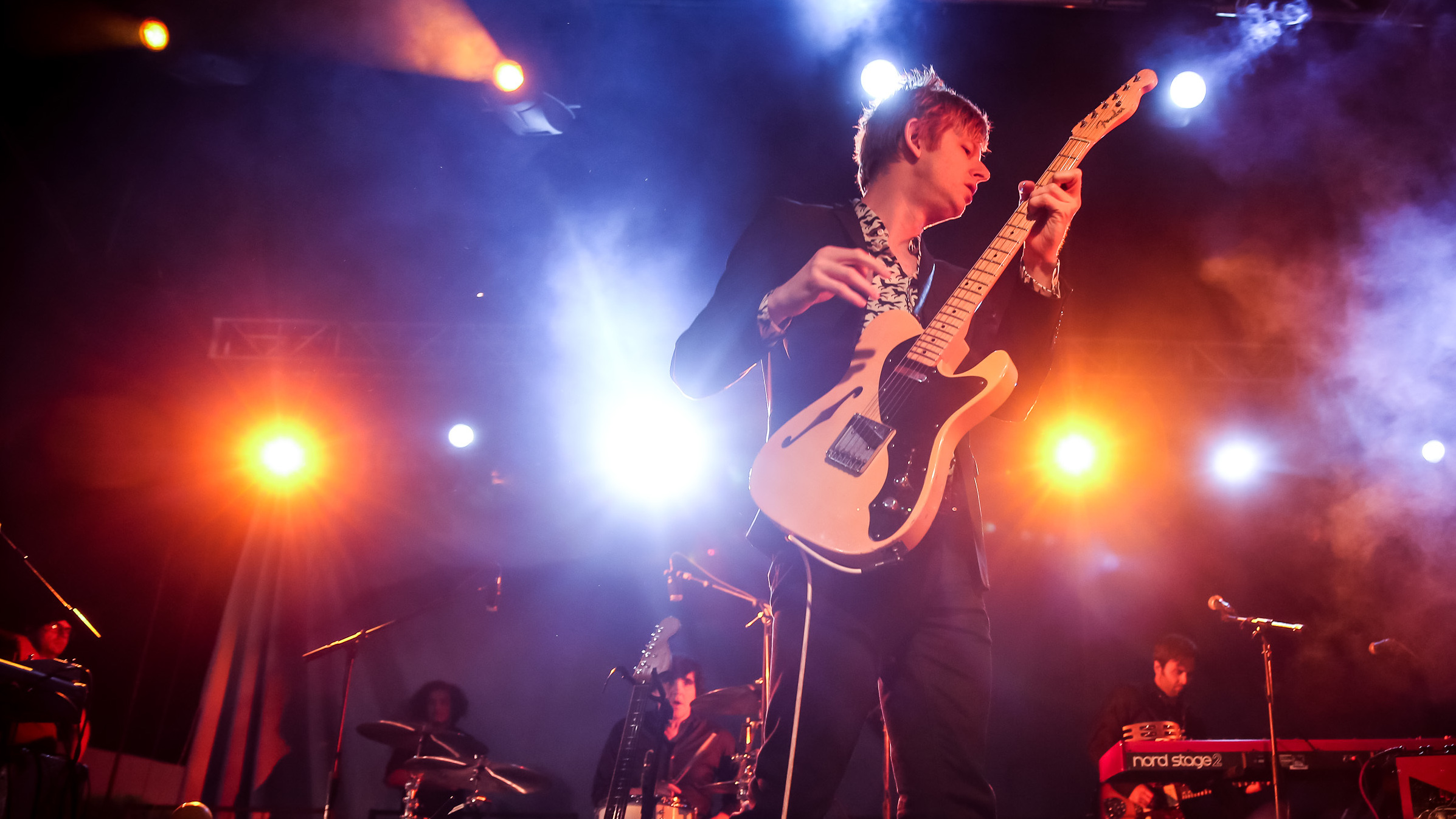 """""""We wanted to do a record for the people who don't know the band as well,"""" says Spoon singer Britt Daniel (center) of the reasoning behind its new greatest hits album, Everything Hits At Once."""