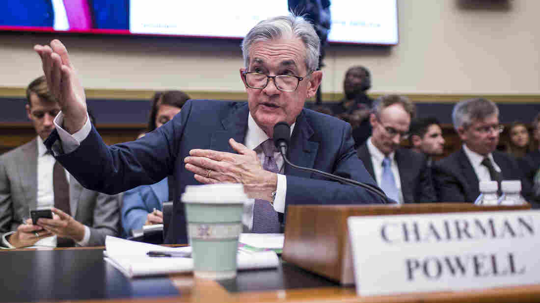 Federal Reserve Chairman Jerome Powell testifies during a House Financial Services Committee hearing on Capitol Hill on July 10, 2019 in Washington, DC.