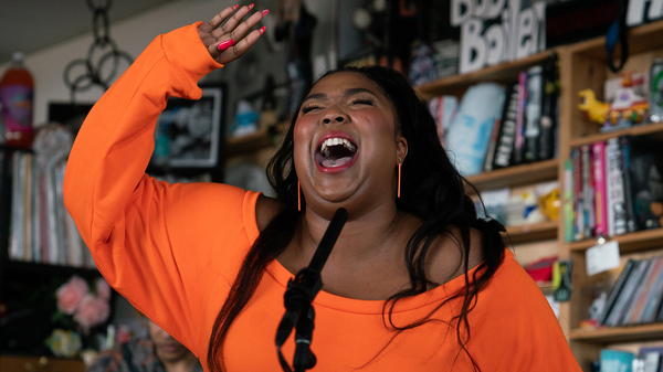 Lizzo plays a Tiny Desk Concert on May 21, 2019 (Claire Harbage/NPR).