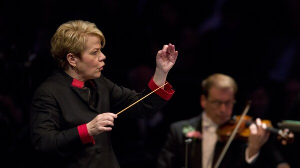 Conductor Marin Alsop performs  at The Royal Albert Hall in west London on Sept. 12, 2015.
