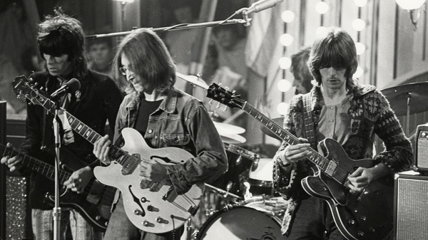 Keith Richards, John Lennon and Eric Clapton perform as supergroup The Dirty Mac at the Rolling Stones