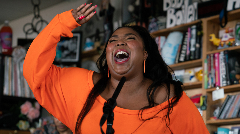 Lizzo plays a Tiny Desk Concert on May 21, 2019 (Claire Harbage/NPR). (Claire Harbage/NPR)