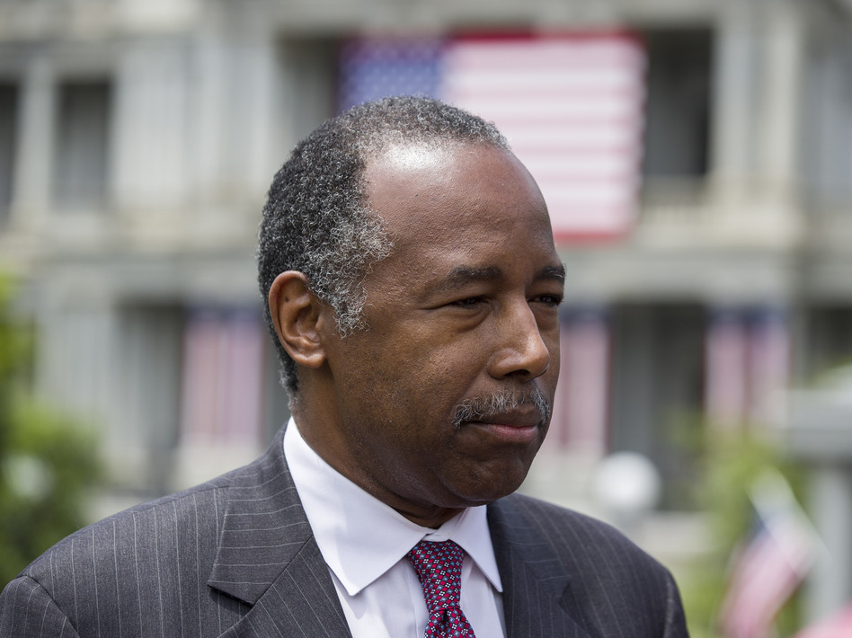 "HUD Secretary Ben Carson said he asked President Trump whether he would be willing to work with Rep. Elijah Cummings to bring relief to Baltimore. Carson says Trump responded he would be ""happy to."" (Alex Brandon/AP)"