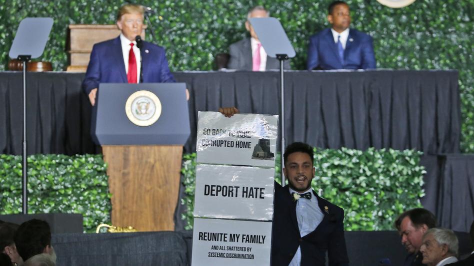 Virginia Del. Ibraheem Samirah, D-Fairfax, interrupted President Trump at a commemorative meeting of the Virginia General Assembly in Jamestown, Va. (Steve Helber/AP)