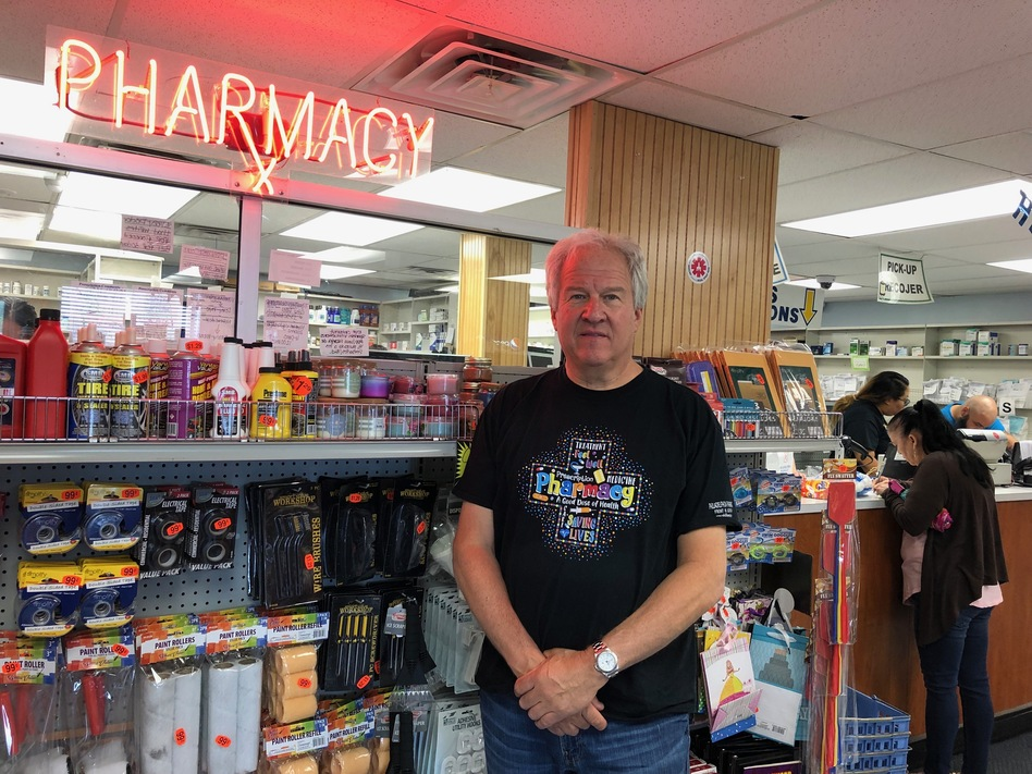 Richard Ost owns Philadelphia Pharmacy, in the city's Kensington neighborhood. He says he has stopped carrying Suboxone, for the most part, because the illegal market for the drug brought unwanted traffic to his store. (Nina Feldman/WHYY)