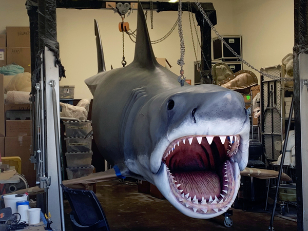 The last Bruce is 25 feet long and living in captivity in Nicotero's Chatsworth, Calif., studio until he makes his debut at the Academy Museum.