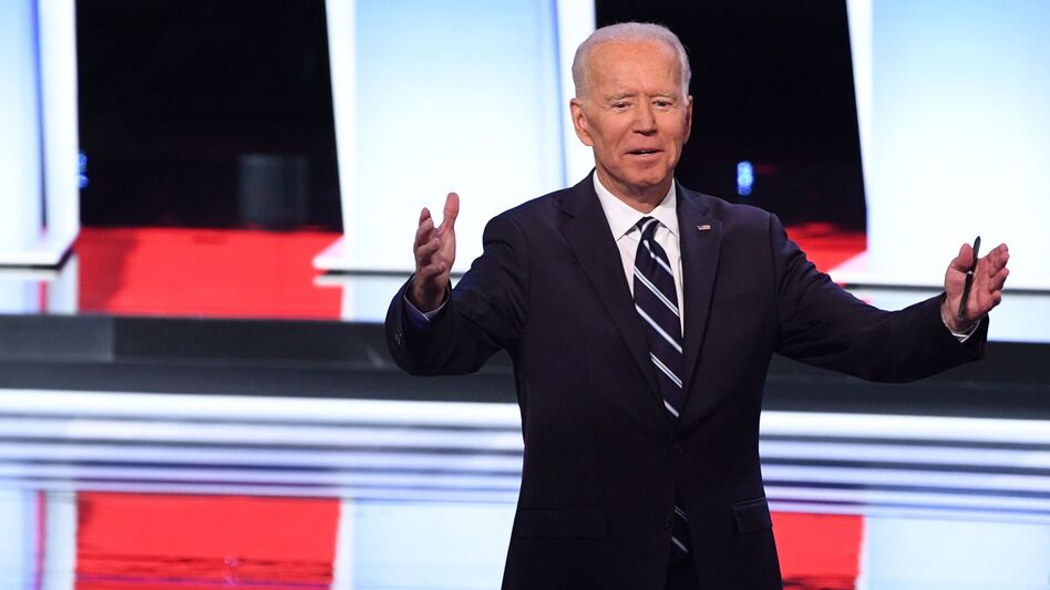 Former Vice President Joe Biden was directly challenged by several other candidates, including Sens. Kamala Harris, Kirsten Gillibrand and Cory Booker. (Jim Watson/AFP/Getty Images)