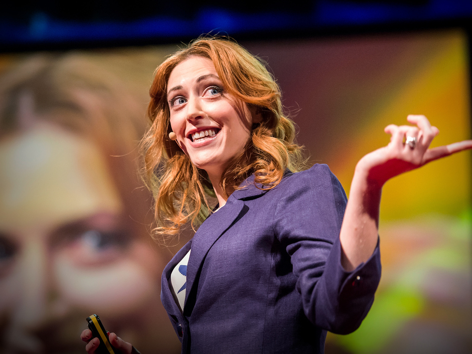 Kelly McGonigal on the TED stage (Duncan Davidson/TED)
