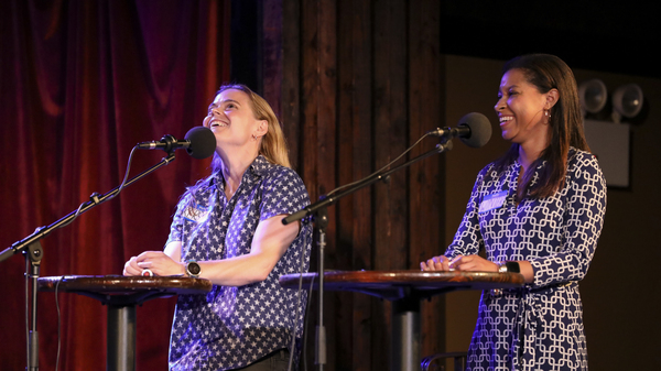 Contestants Kerstin Nordstrom and Wynter Chatman appear on Ask Me Another at the Bell House in Brooklyn, New York.