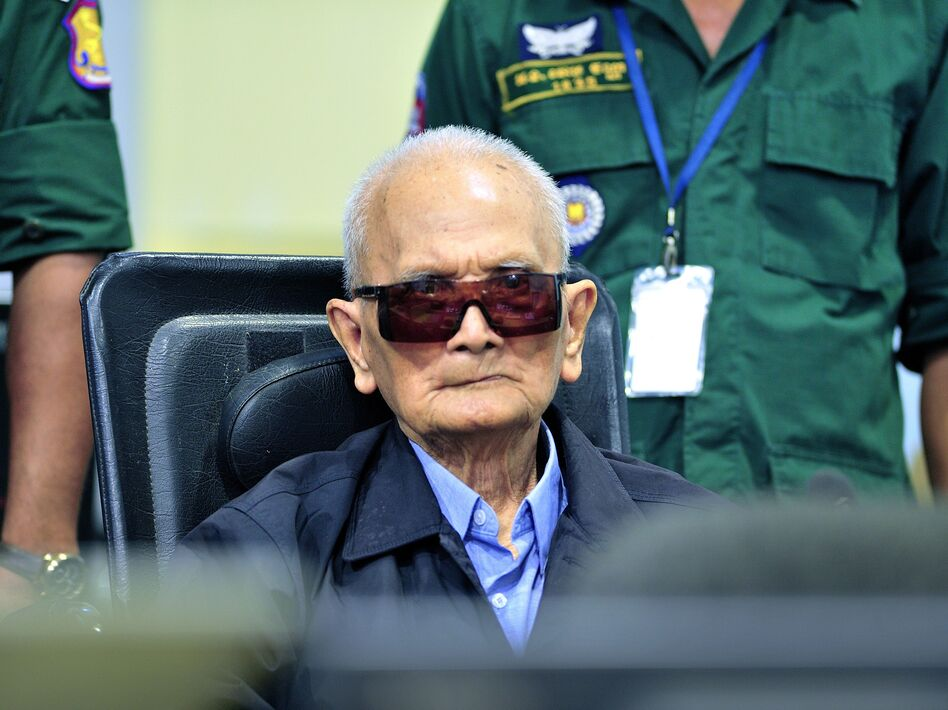 A handout photo released by the Extraordinary Chambers in the Courts of Cambodia (ECCC) on November 16, 2018, shows former Khmer Rouge leader Nuon Chea during his war crimes trial last year in Phnom Penh. (Mark Peters/AFP/Getty Images)